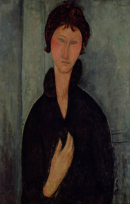 With Blue Painting - Woman With Blue Eyes by Amedeo Modigliani