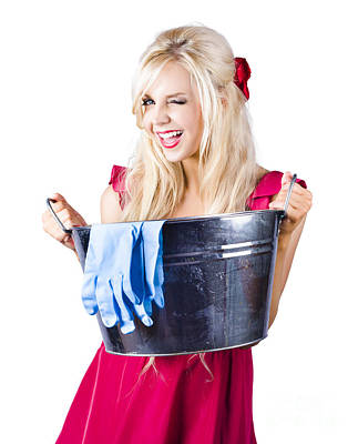 Washtub Photograph - Woman With Bucket And Rubber Gloves by Jorgo Photography - Wall Art Gallery
