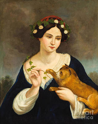 Painting - Woman With Cat by Juan Cordero
