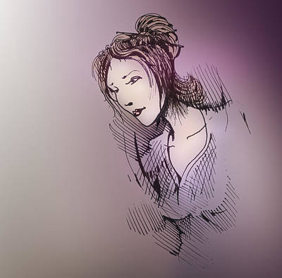 Art Print featuring the drawing Woman With Chopsticks In Her Hair by Keith A Link
