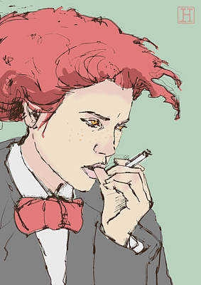 Hairstyle Digital Art - Woman With Cigarette by H James Hoff