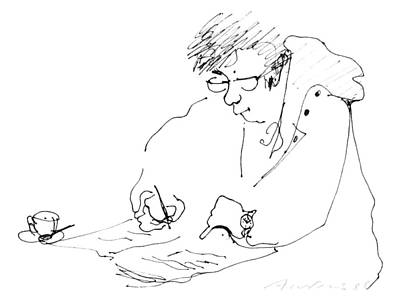 Drawing -  Crossword And Coffee by Annabel Andrews