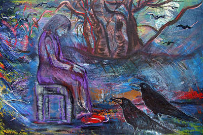 Painting - Woman With Crows by Katt Yanda