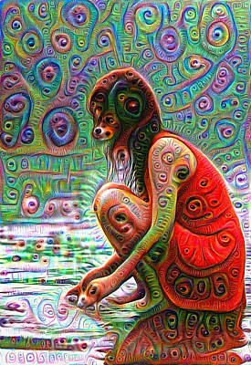 Google Mixed Media - Woman With Dog Head Deep Dream Wild And Crazy by Matthias Hauser