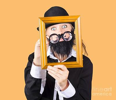 Woman With Empty Picture Frame Art Print by Jorgo Photography - Wall Art Gallery