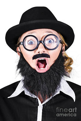 Woman With Fake Beard And Mustache Screaming Print by Jorgo Photography - Wall Art Gallery