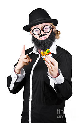 Woman With False Beard And Mustache Holding Cube Puzzle Art Print