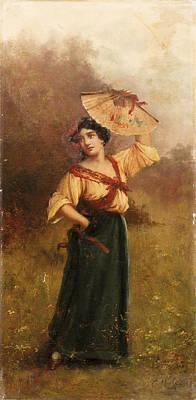 Music Figurative Potraits - Woman With Fan by Andrea Marko