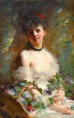Woman With Flower Basket 1850 Art Print by Padre Art