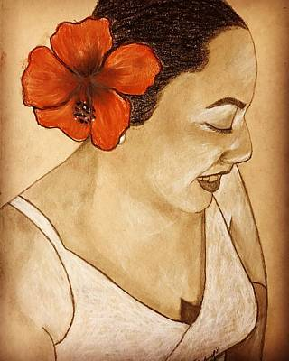 Drawing - Woman With Flower by Thelma Delgado