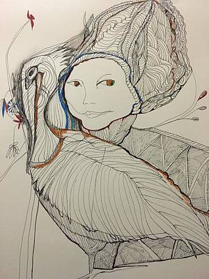 Drawing - Woman With Flowers And Pelican by Rosalinde Reece