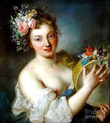 Painting - Woman With Flowers by Pg Reproductions