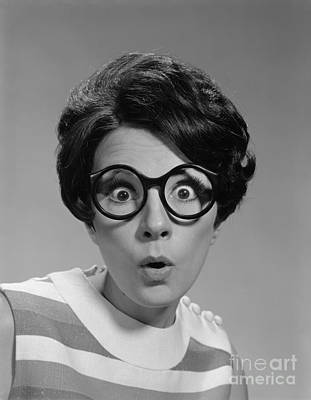 Photograph - Woman With Glasses, Eyes Wide Open by H Armstrong Roberts ClassicStock