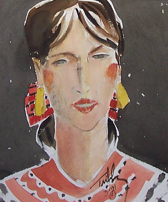 Painting - Woman With Gold Earrings by Thomas Tribby