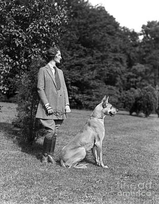Pant Suit Photograph - Woman With Great Dane, C.1920-30s by H. Armstrong Roberts/ClassicStock