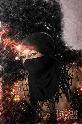Digitally Manipulated Female Portraiture Photograph - Woman With Headscarf  by Ilan Rosen