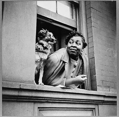 Woman With Her Dog In Harlem, New York Art Print by Everett