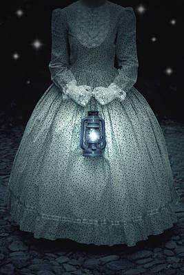 Period Photograph - Woman With Lantern by Joana Kruse