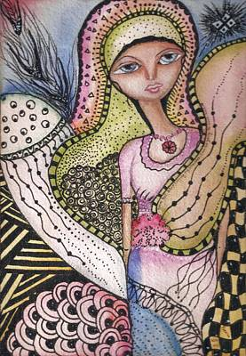 Mixed Media - Woman With Large Eyes by Prerna Poojara