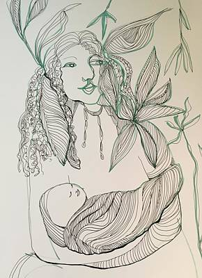 Drawing - Woman With Little One by Rosalinde Reece