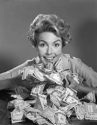 Good Luck Photograph - Woman With Money, C.1950-60s by Debrocke/ClassicStock