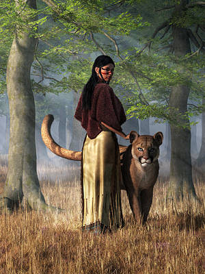 Cougar Digital Art - Woman With Mountain Lion by Daniel Eskridge