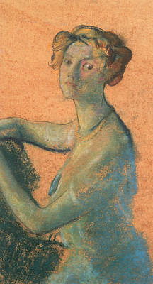 Portrait Of Woman Drawing - Woman With Orange Background by Arthur Bowen Davies