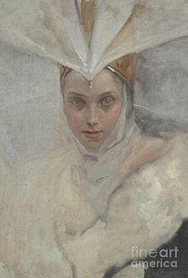 Medieval Painting - Woman With Osprey Headdress And White Fur Collar, 1897 by Edwin Austin Abbey