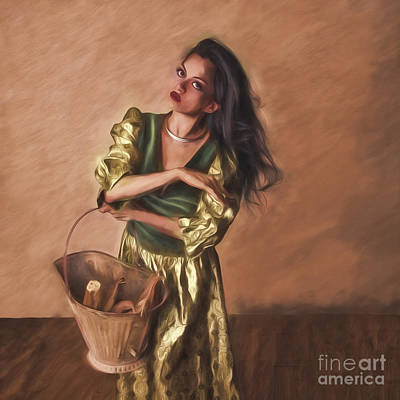 Woman With Pail  ... Art Print by Chuck Caramella