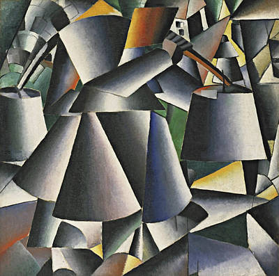 Suprematism Painting - Woman With Pails - Dynamic Arrangement by Kazimir Malevich