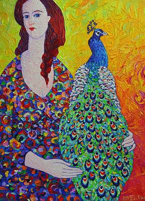 Woman With Peacock Contemporary Portrait Impressionist Palette Knife Oil Painting Ana Maria Edulescu Art Print by Ana Maria Edulescu