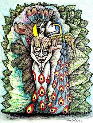 Oshun Wall Art - Drawing - Woman With Peacock by Juan Carlos Mulet