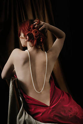 Redheads Wall Art - Photograph - Woman With Pearls by Jelena Jovanovic