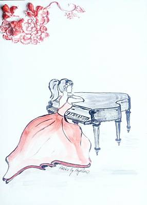 Lasy Painting - Woman With Piano by Angelina Siecinska
