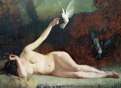 Female Painting - Woman With Pigeons by Ernst Philippe Zacharie