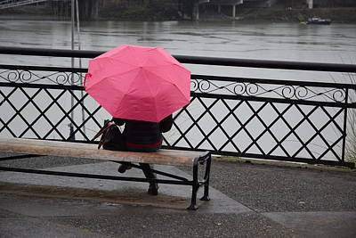 Photograph - Woman With Pink Umbrella. by Larry Johnston