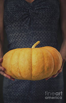 Woman With Pumpkin Art Print by Mythja Photography