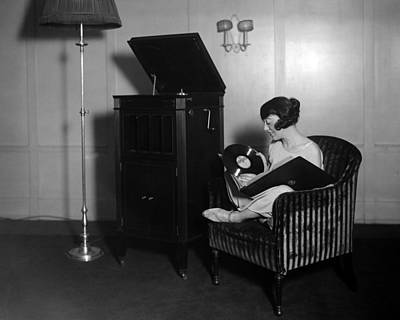 Woman With Record Albums And Victrola Art Print by Everett