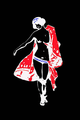 Woman With Red Cape - And Not Much Else Art Print by James Hill
