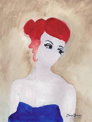 Painting - Woman With Red Hair And Blue Dress by Janel Bragg