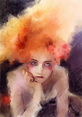 Circus Digital Art - Woman With Red Hair by H James Hoff