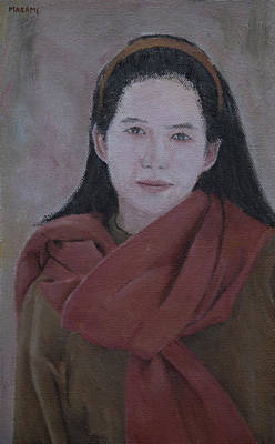 Painting - Woman With Scarf by Masami Iida
