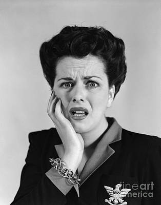 Woman With Shocked Expression, C.1940s Art Print by H. Armstrong Roberts/ClassicStock