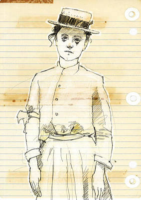 Woman With Straw Hat Art Print by H James Hoff