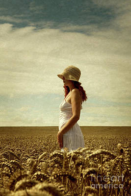 Photograph - Woman With Sun Hat In Corn Field by Clayton Bastiani