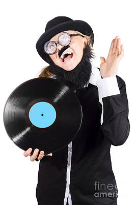 Woman With Vinyl Record Over White Background Art Print by Jorgo Photography - Wall Art Gallery