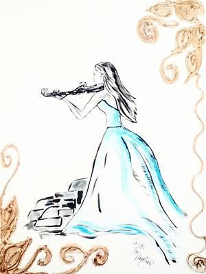 Woman With Violin Original by Angelina Siecinska
