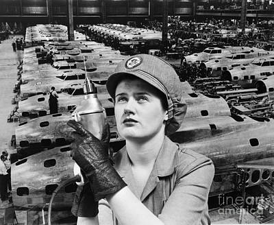 Woman Working During Wwii, C.1940s Print by H. Armstrong Roberts/ClassicStock