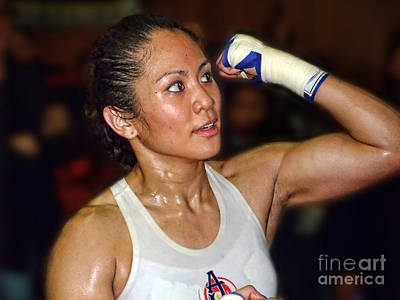 Photograph - Woman's Boxing Champion Filipino American Ana Julaton On The Speed Bag II by Jim Fitzpatrick