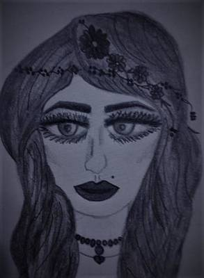 Long Necklace Drawing - Woman's Face by Lynette Fekete